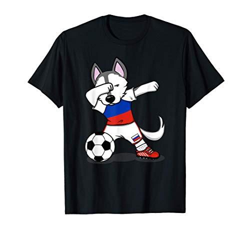 Dabbing Husky Dog Rusia Fútbol - Bandera rusa Camiseta