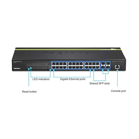TRENDnet 24-Port Gigabit Layer 2 Switch with 4 Shared Mini-GBIC Slots, 48 Gbps Switching Capacity, SNMP, Lifetime… 2 ETHERNET PORT INTERFACE: 24 x Gigabit ports, 4 x 10G SFP+ SLots SWITCHING CAPACITY: This Ethernet switch allows for a 128Gbps switching capacity HIGH SPEED 10G SFP+: This gigabit switch offers four dedicated 10G SFP+ slots for high-speed network uplinks or downlink NAS / access server connections providing a cost-effective solution in adding 10G link capability to an SMB network.