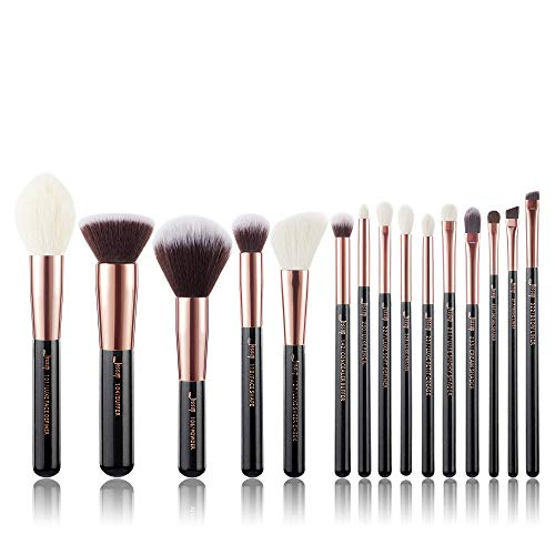 Jessup Makeup Brushes, Labeled Makeup Brush Set Premium Synthetic and Natural Hair Foundation Powder Concealer Eyeshadow Blending 15pcs Brush Kit, Rose Gold/Black T160