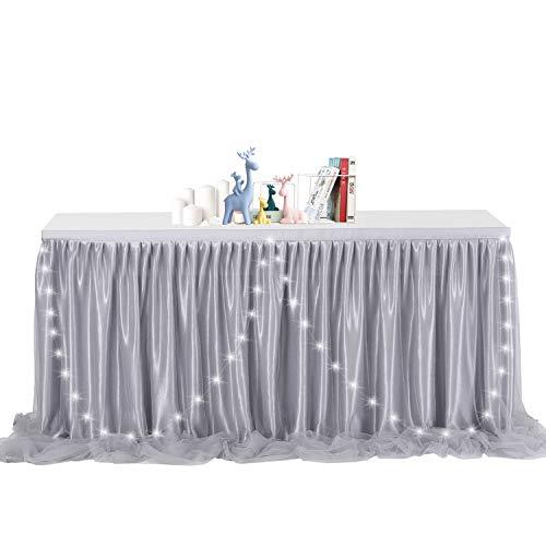 NSSONBEN Tischdecke Tüll LED Tischrock Grau Tischdeko Tischröcke Für Baby Shower, Hochzeit,Geburtstag, Kindergeburtstag 2Yards