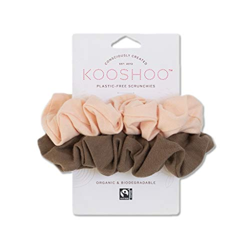 BIODEGRADABLE ORGANIC COTTON SCRUNCHIES   Plastic-Free, Soft-on-Hair Scrunchie Made From Fair Trade Organic Cotton and Natural Rubber (2-Pack)