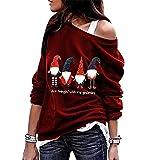 Sudadera Navidad Hombro Descubierto Mujer Jersey Navideño Feo Sudaderas Navideñas Mujer Divertido Pullover Navidad Ugly Jerseys Navideños Chica Sudadera Navideña Talla Grande Sueter Anchas Rojo L