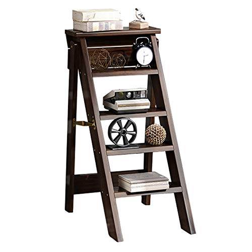 Wooden 5 Step Ladder Chair Household Folding Ladder Stools Multifunction Bookshelf Plant Stand Indoor Climb Stepladder for Kitchen Office Library, Deep Walnut Color