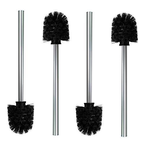 Nirox 4X Klobürste Schwarz im Set - Toilettenbürste mit Edelstahlstiel (rostfrei) - Austauschbare WC-Bürsten - Hygienische Ersatzbürsten mit Anti-Haft-Wirkung