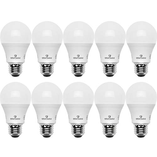 Great Eagle A19 LED Light Bulb, 9W (60W Equivalent), UL Listed, 3000K (Soft White), 750 Lumens, Non-dimmable, Standard Replacement (10 Pack)