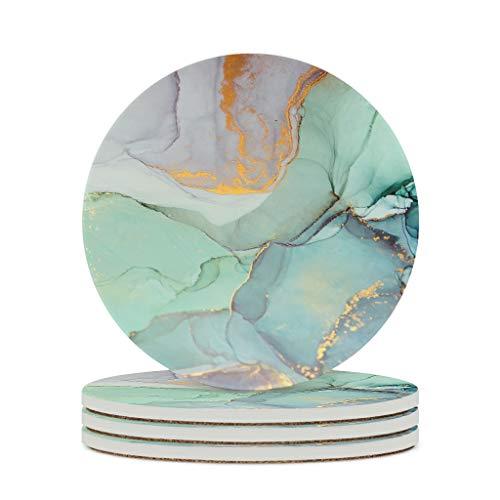 Zaclay Posavasos de cerámica con textura de mármol, tinta duradera de cerámica retro, 4 unidades, estilo moderno para oficina, color blanco