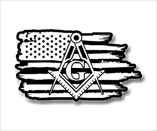Stonemason Mason Masonic Freemason American Flag Sticker Decal (2 Pack 2'x3.5')
