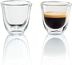 De'Longhi Juego de 2 vasos premium para espresso, apto para lavavajillas, pared doble vidrio templado, transparente, 60 ml