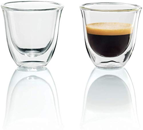 De'Longhi DeLonghi Double Walled Thermo Espresso Glasses, Set of 2, Regular, Clear