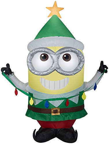 Minion Dave in Green Elf Suit Minions Christmas Inflatable