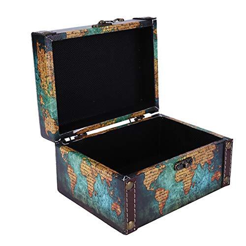 Tomantery Organizador de baratijas Caja de baratijas de Madera Adornos de Escritorio Estilo Retro Metal a Prueba de Polvo Hebilla Antigua Pendientes Vintage Día de(2208A-06-Green Map)