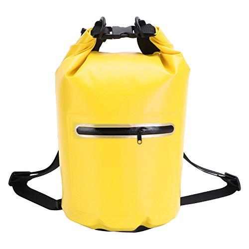 XMTIKO 20L Double-épaules Sac Etanche, 58x37cm Sacs Imperméables Idéal pour Navigation de Plaisance/Pêche/Rafting/Natation/Flottant/Camping Jaune