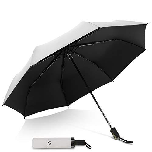 DORRISO Faltbar Mini Regenschirm Taschenschirm Damen Sonnenschirm Leicht Kompakt Stabiler Regenschutz Sonnencreme Windsicher Dauerhafte rutschfest Griff Taschenschirm