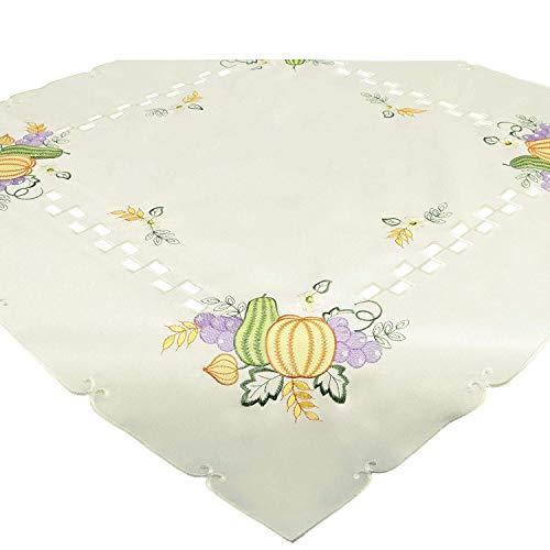 Tischdecke Mitteldecke KÜRBISSE, 85x85 cm, aufwändig Bestickt, passend zum Herbst
