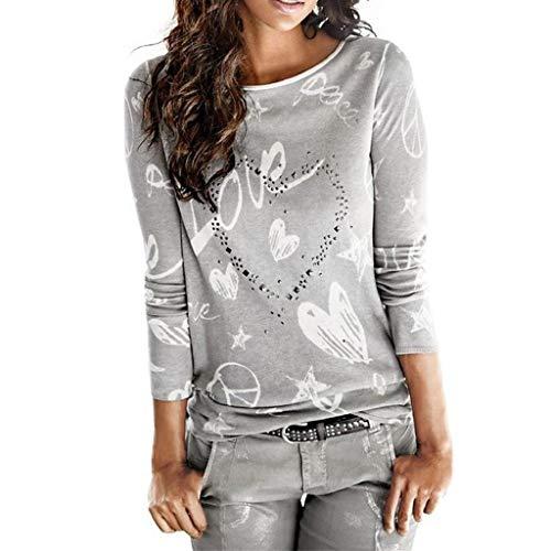 SHOBDW Mujeres Camiseta de Manga Larga con Cuello Redondo y Camisa Impresa Moda Casual Primavera Otoño Blusa Algodón Suelto Tops Sudadera Pullover Camiseta Elegante(Gris,L)