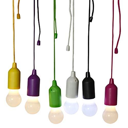Macosa WV37861 Led-lamp, set van 6 decoratieve treklampen, draagbare gloeibron, kleurrijk op batterijen, warmwit, tuinverlichting, feestverlichting, decoratief licht
