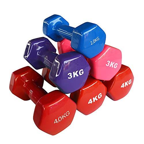CWM® Hanteln, Kurzhanteln 2er-Set 1kg/2kg/3kg rutschfest Fitness Hantelset Workout Gewichte für Damen Männer Kinder Training Krafttraining Gymnastik