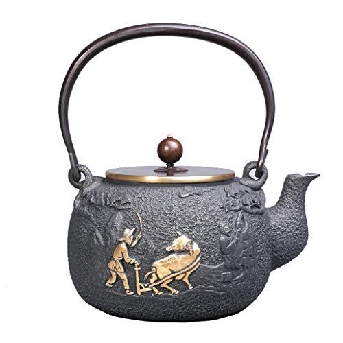 YSXZTCHC 1.2L Tetera de Hierro Fundido Caldera, Juego de té sin la Capa del japonés-StyleCopper manija/Tapa, antioxidante Mejorar la Calidad del Agua