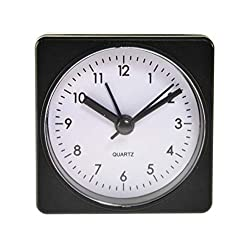 Home-X Analog Alarm Clock with Quartz Movement, Square Battery-Operated Bedside Clock