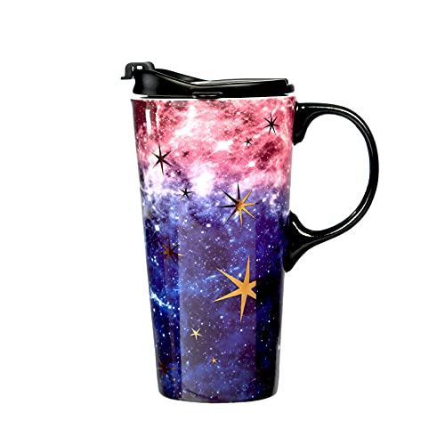 Ceramic Travel Mug Coffee Cup 17 OZ, with Sealed Lid and Gift Box,...