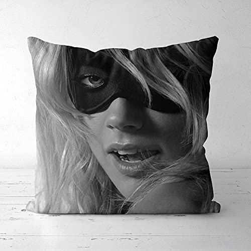 Funda de cojín Throw Pillow Funda Amber Heard Soft Velvet Square Square Funda de Almohada Sofá al Aire Libre Ropa de Cama Decoración para el hogar y el Coche Fundas de Cojines 45x45cm