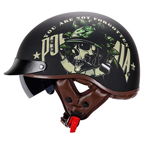 GAOZHE 3/4 Men Half Helmet,Retro Motorcycle Helmets,Women con VisorAdjustable Size Dial Design Suitable For All Seasons Adult Rider Protective Gear for bike cruiser chopper moped scooter DOT Approved