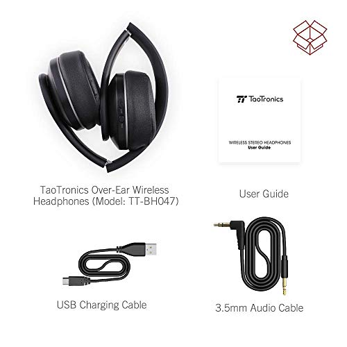 TaoTronics Active Noise Cancelling Bluetooth Headphones, Durable Over Ear Headphones with Soft Protein Ear Pads & 24 Hour Playtime, Foldable, CVC 6.0 Noise Cancelling Mic Wireless Headphones