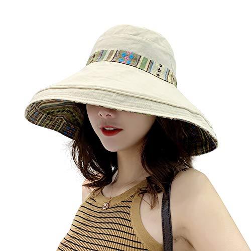 TAGVO Señoras Sombreros para el Sol Verano de ala Ancha Protección UV Mujeres Cubos Sombreros Viseras de Playa Plegables Gorras con Correa
