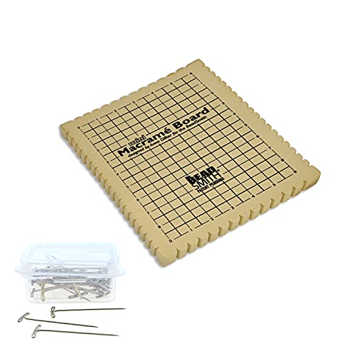 The Beadsmith Mini Macrame Combo - Bead Board 7.5 x 10.5 inches - Box of 40 T-pins 1.75 inches - Bracelet Project & Instructions Included - Ideal for securing & creating Macrame and Knotting Creations