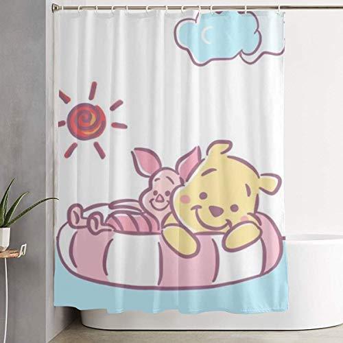CDMT-XU1 Duschvorhang Winnie The Pooh Kunstdruck, Baddekoration aus Polyestergewebe mit Haken 60X72 Zoll