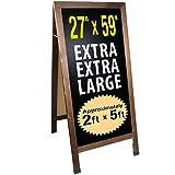 Extra Large Gigantic Sandwich Board Sidewalk Chalkboard Sign: 59'x27' Reinforced, Heavy-Duty, Double Sided, Chalk Board Standing Sign A-Frame (Rustic)