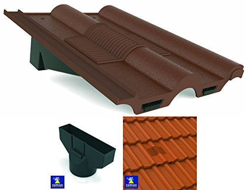 Brown Marley, Redland, Sandtoft Double Roman Roof In-Line Tile Vent Ventilator & Flexi Pipe Adaptor by Manthorpe