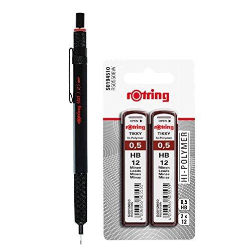 Portaminas, minas lápiz rotring 500/0,5mm con 24minas HB