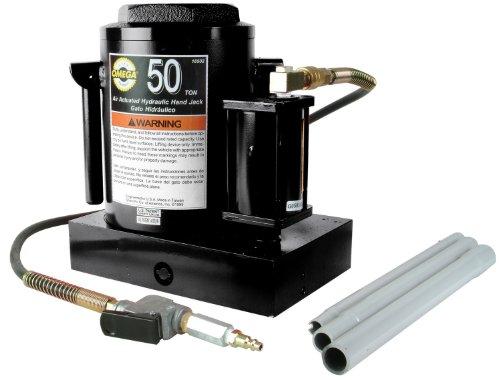 Omega 18502 Black Hydraulic Air Actuated Bottle Jack - 50 Ton Capacity