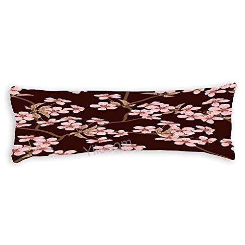 Funda de almohada para el cuerpo con cremallera, funda de cojín protectora para decoración del hogar, 50,8 x 59 pulgadas, flores de cerezo