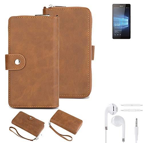 K-S-Trade® Handy-Schutz-Hülle Für -Microsoft Lumia 950 XL Dual SIM- + Kopfhörer Portemonnee Tasche Wallet-Case Bookstyle-Etui Braun (1x)