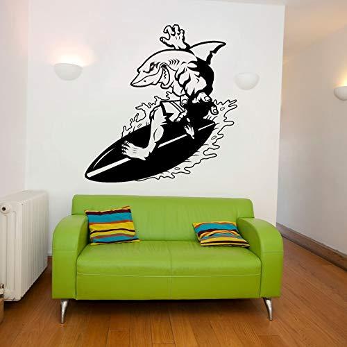 Calcomanía de pared de tiburón de surf de verano extremo abstracto etiqueta de pared de surf deporte decoración de dormitorio de habitación sala de juegos sala de estar dormitorio habitación de niñ