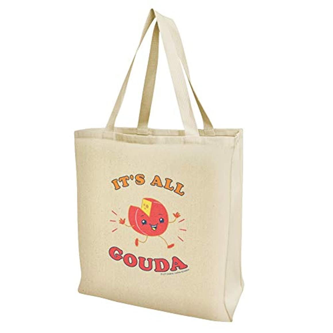 It's All Gouda Good Cheese Funny Humor Grocery Travel Reusable Tote Bag - Large