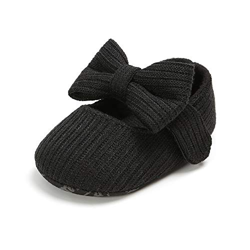XYLUIGI Baby Girls Dress Shoes Soft Sole Mary Jane Ballet Flats Infant Prewalker Bow Shoes Black, 6-12 Months
