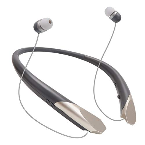 Bluetooth Retractable Headphones, Wireless Earbuds Neckband Headset Noise Cancelling Stereo Earphones with Mic (15 Hours Play Time, Grey)