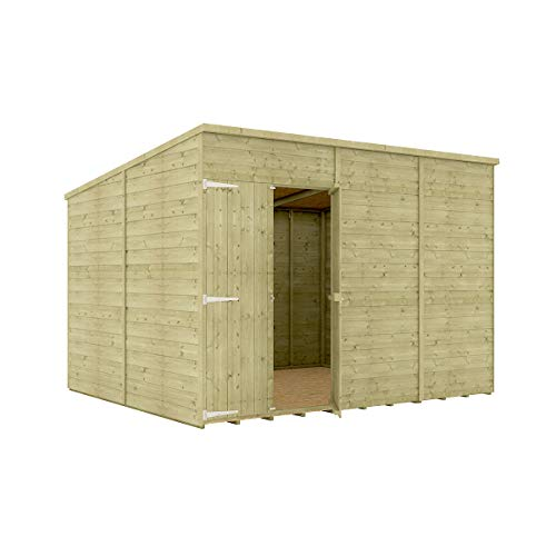 10 x 8 Pressure Treated Hobbyist Pent Shed Tongue & Groove Shiplap Cladding Construction Windowless Offset Door OSB Floor Wooden Garden Shed 3.04m x 2.43m
