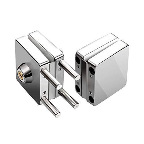 Perforada de cristal cerradura de puerta de acero inoxidable 304 individual y del vidrio de la puerta doble pasador de traba C-clase Key libre de roturas, deformación y duradero (Color : Silver)