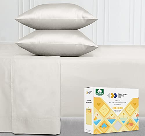 Premium 400-Thread-Count 100% Natural Cotton Sheets - 4-Piece Ivory Color Queen Size Sheet Set Long-Staple Combed Cotton Solid Bed Sheets for Bed Breathable Cotton Sateen Weave Sheets Set
