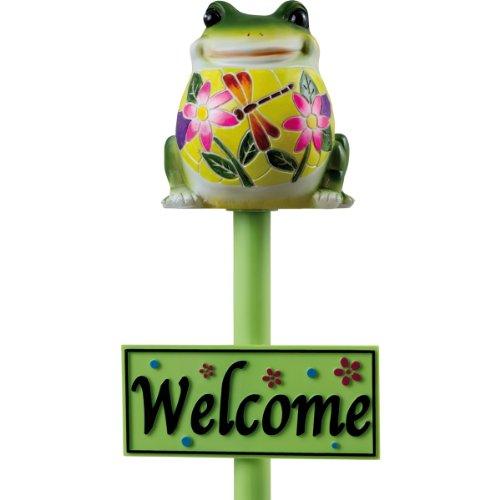 Solarleuchte Frosch FABIUS Gartenfigur Gartenstecker mit Willkommensschild