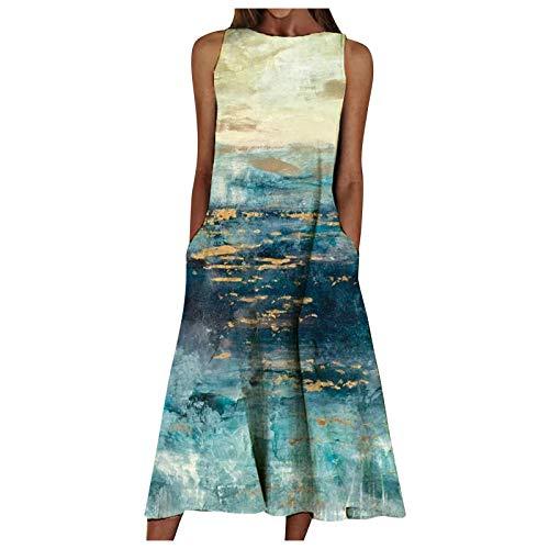 Lenfeshing Vestido de Playa con Estampado de Flores Mujer Vestido Largo con Bolsillo Verano Cuello Redondo para Vacaciones Viaje