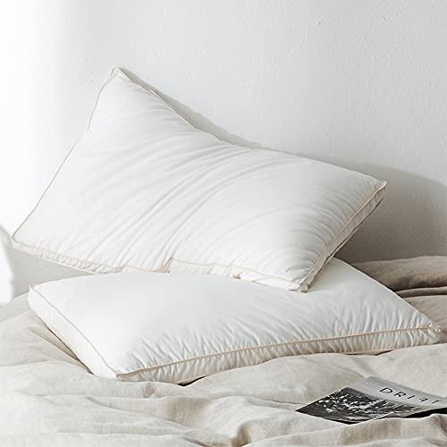 DUYH 2 Piezas de Almohada de Algodón Suave Lavable, Cómoda Almohada Estereoscópica de Cinco Estrellas.48×74 cm, Blanco. (Estilo Estereoscópico)