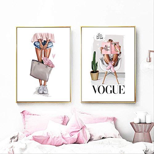 BRT 1 Stuk/2 Stuks Mode Meisje Noordse Lippenstift Posters En Prints Wandkunst Canvas Schilderen Muur Foto's Voor Woonkamer