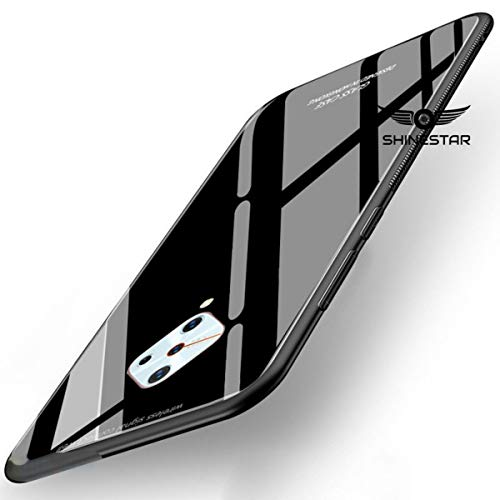 shinestar tempered glass back cover with soft edge tpu full protective case cover for vivo s1 pro (black glass, vivo s1 pro) - Black
