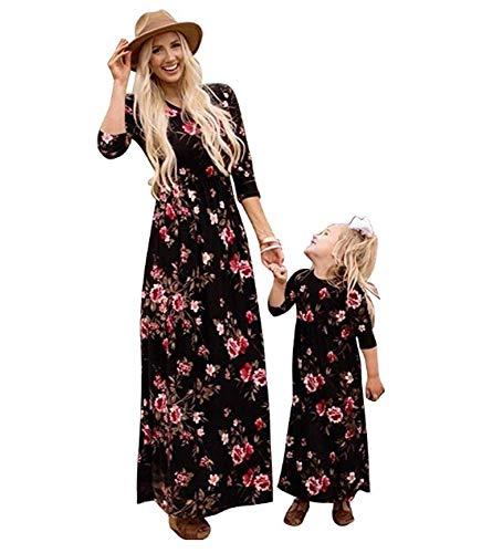 CHRONSTYLE Partnerlook Mutter Tochter, Mama Kind Kleid Strandkleid Sommerkleider Kinder Mädchen Langarm Boho Gestreiften Print Kleid Familien Kleidung Matching Outfits (Tochter, 120)