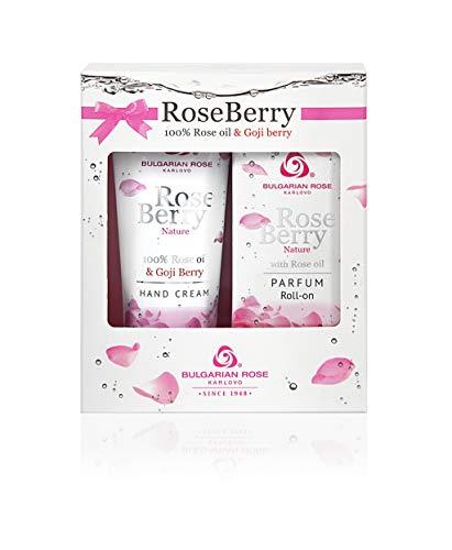 Rose Berry Nature Gift Set Femmes Roll-On Parfum et Crème pour les Mains avec 100% d'huile de Rose et de Baies de Goji Sans Parabènes